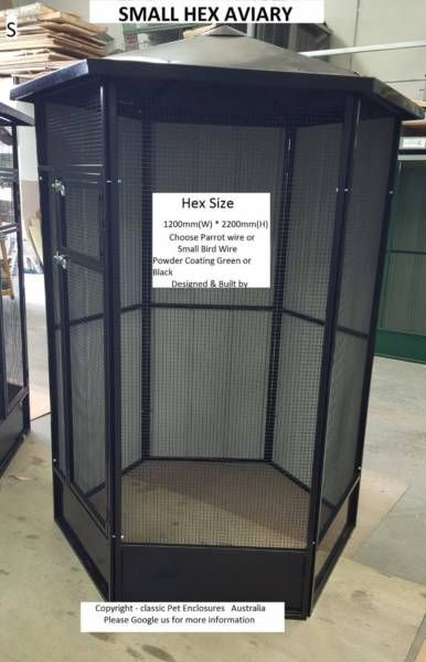** NEW SMALL HEX AVIARY, AVIARIES, PARROTS, PIGEONS