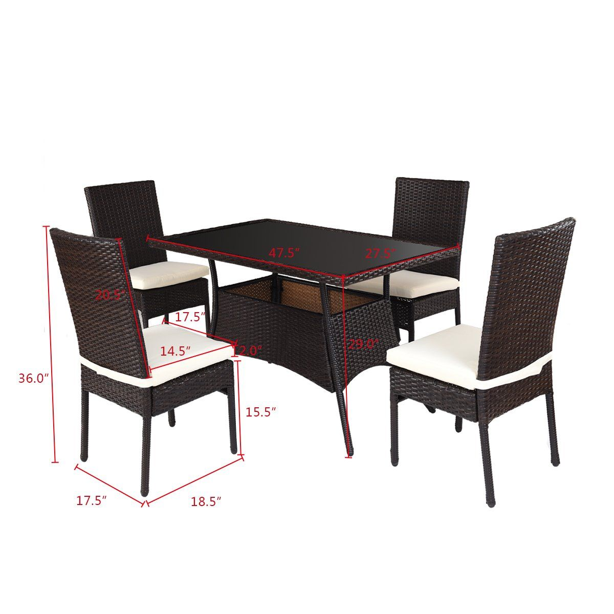 Tangkula Patio Furniture 5 Pcs Outdoor Balcony Wicker Rattan