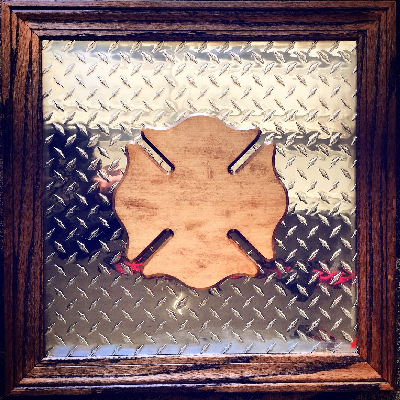 2 x 2 diamond plate plaque with walnut trim and wooden maltese 2 x 2 diamond plate plaque with walnut trim and wooden maltese cross heroplaques jeuxipadfo Choice Image