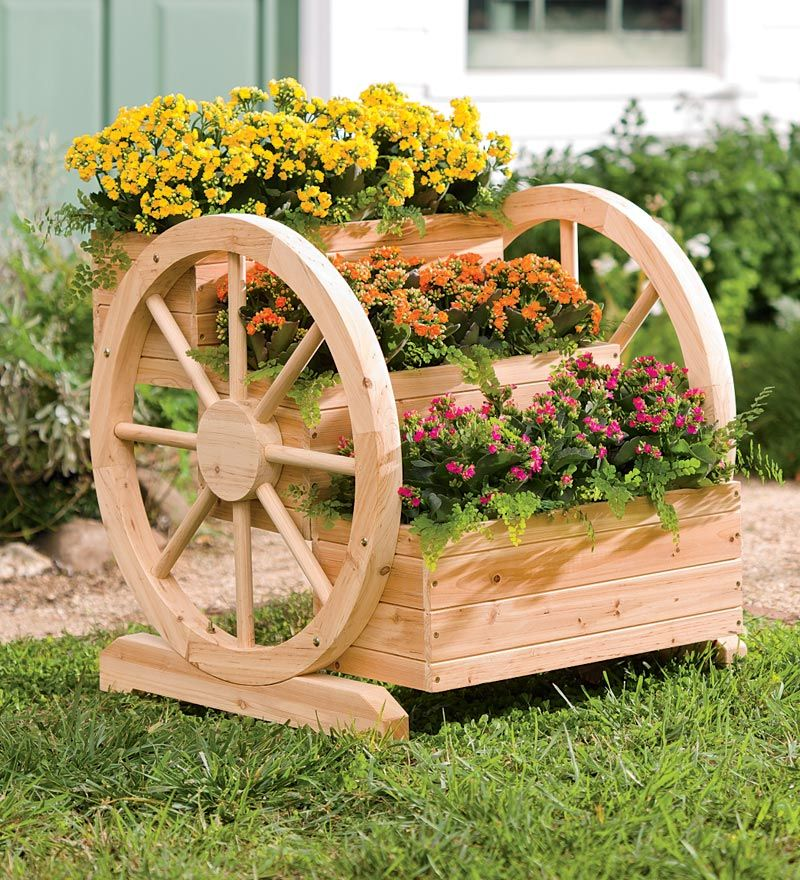 Lovely Solid Wood Wagon Wheel Tiered Planter   Plow U0026 Hearth   Gardening For Life