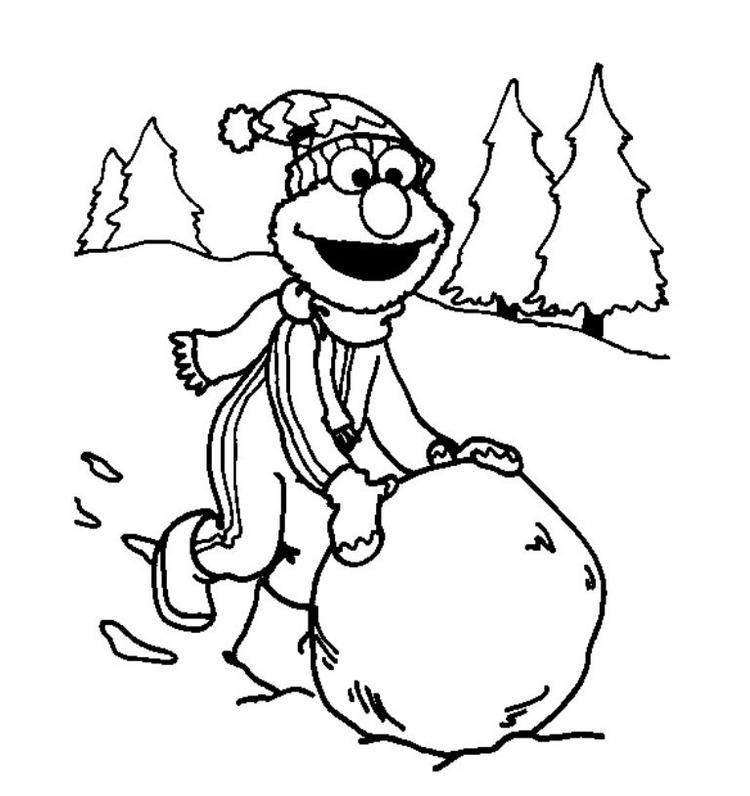 Elmo Playing Snow Winter Coloring Pages For Kids  Elmo coloring