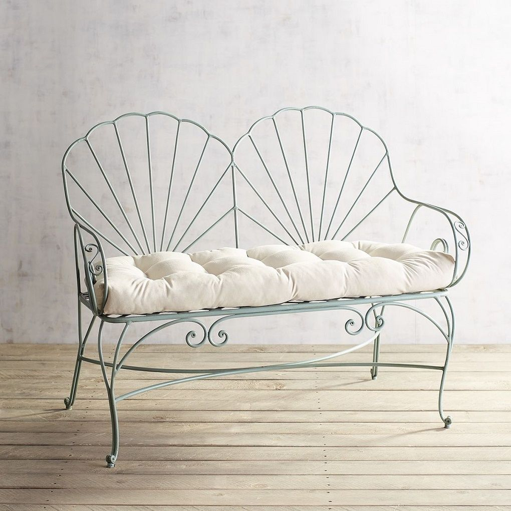 Teal Seashell Wrought Iron Bench With Images Wrought Iron Bench