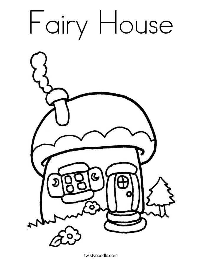 Fairy House Coloring Page  Twisty Noodle  Woodland Fairy