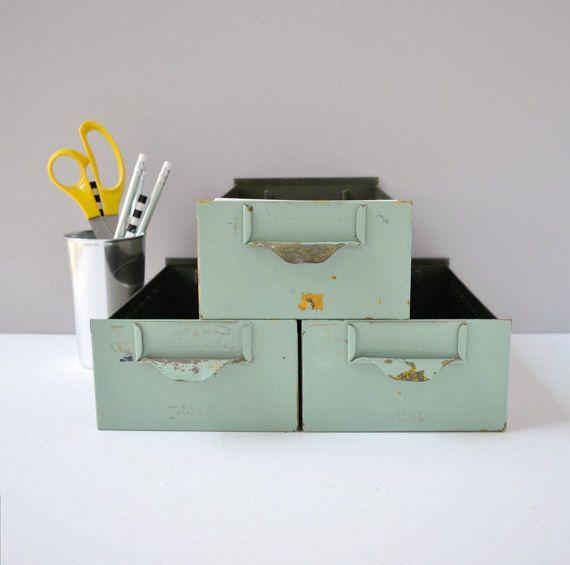 Vintage Industrial Metal Storage Bins Metal By Thegoldgator Metal Storage Bins Storage Bins Vintage Industrial