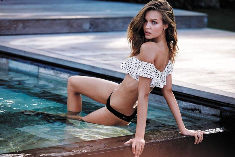 ef54ab87c35f4 Josephine Skriver stars in Victoria's Secret Swim 2016 catalog wearing  flounce crop top and itsy bottom