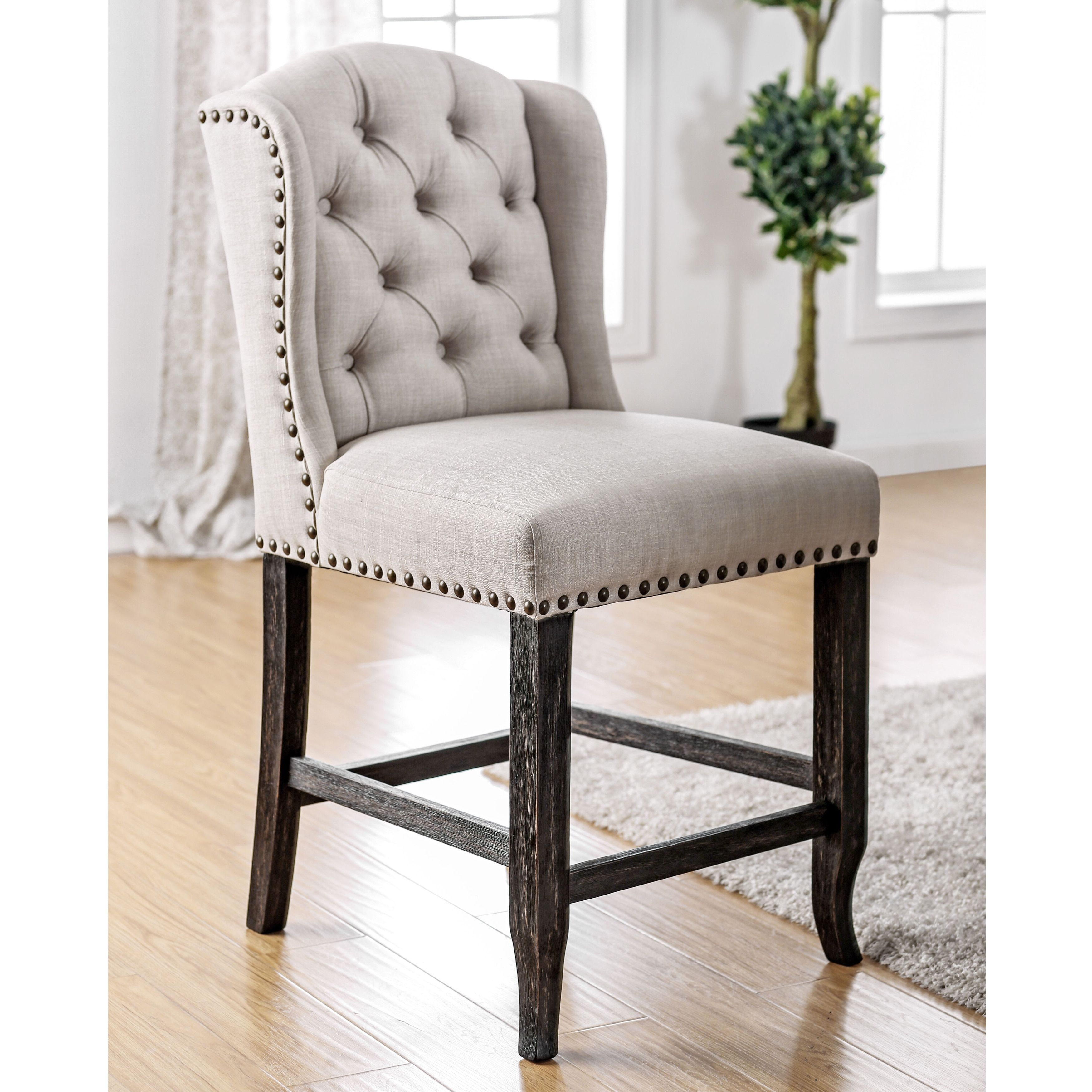 24 inch counter chairs desk chair leans back too far furniture of america telara contemporary tufted wingback height set 2 gray black fabric
