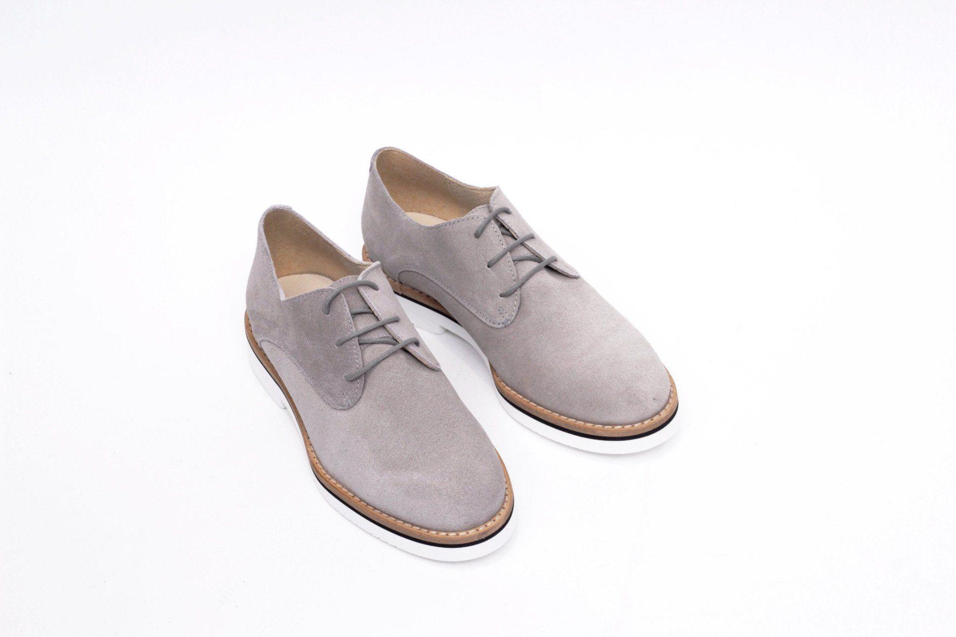 Perla Blucher Mimao –zapato Mujer Cómodo Insta Plano Gris Tacón Piel vm80wnyON