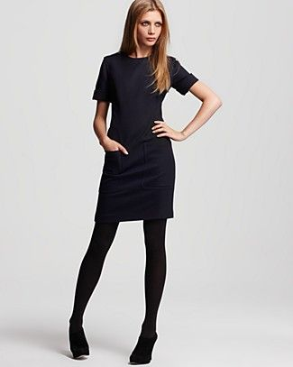 Black Shift Dress with Sleeves and Pockets
