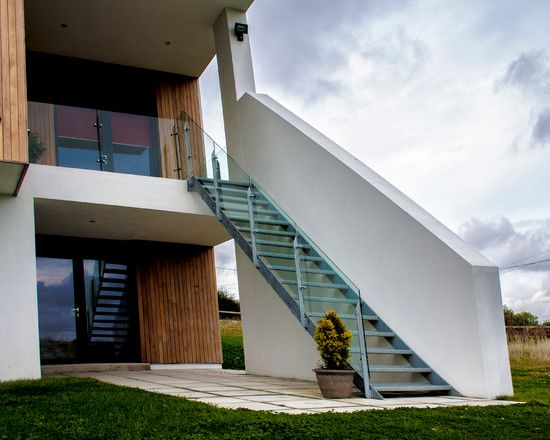 Nice Simple Stairs To Beautify Your Home Ideas Fascinating Modern | Outdoor Stairs To Second Floor | Rooftop Deck | Second Level | 2 Tier | Narrow | High Deck