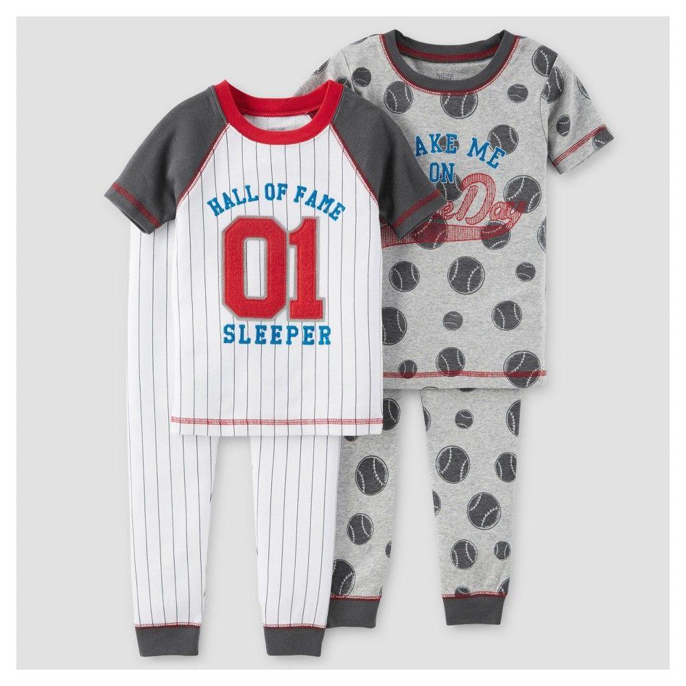 Baby Boys 4 Piece Snug Fit Cotton Pajamas Baseball 12m