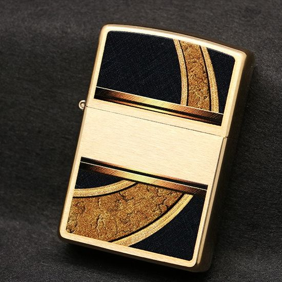 Zippo Windproof Brushed Brass Gold and Black Lighter