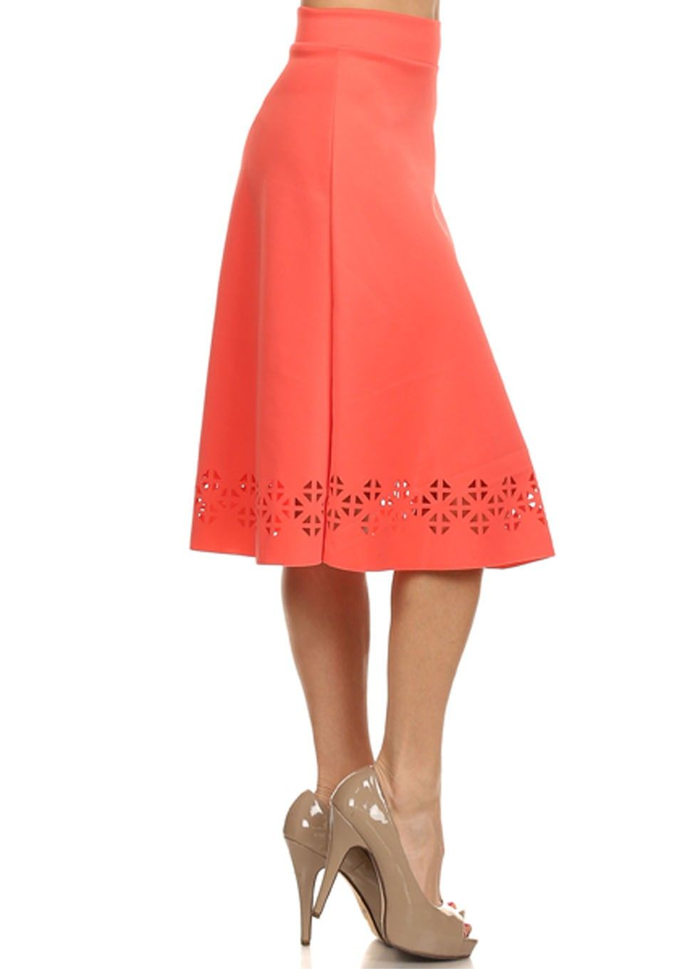 coral modest skirt