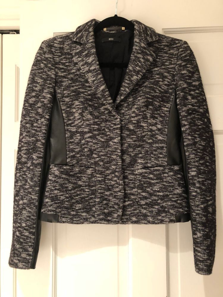 Hugo Boss Black and White Wool Faux Leather Jacket Size 4