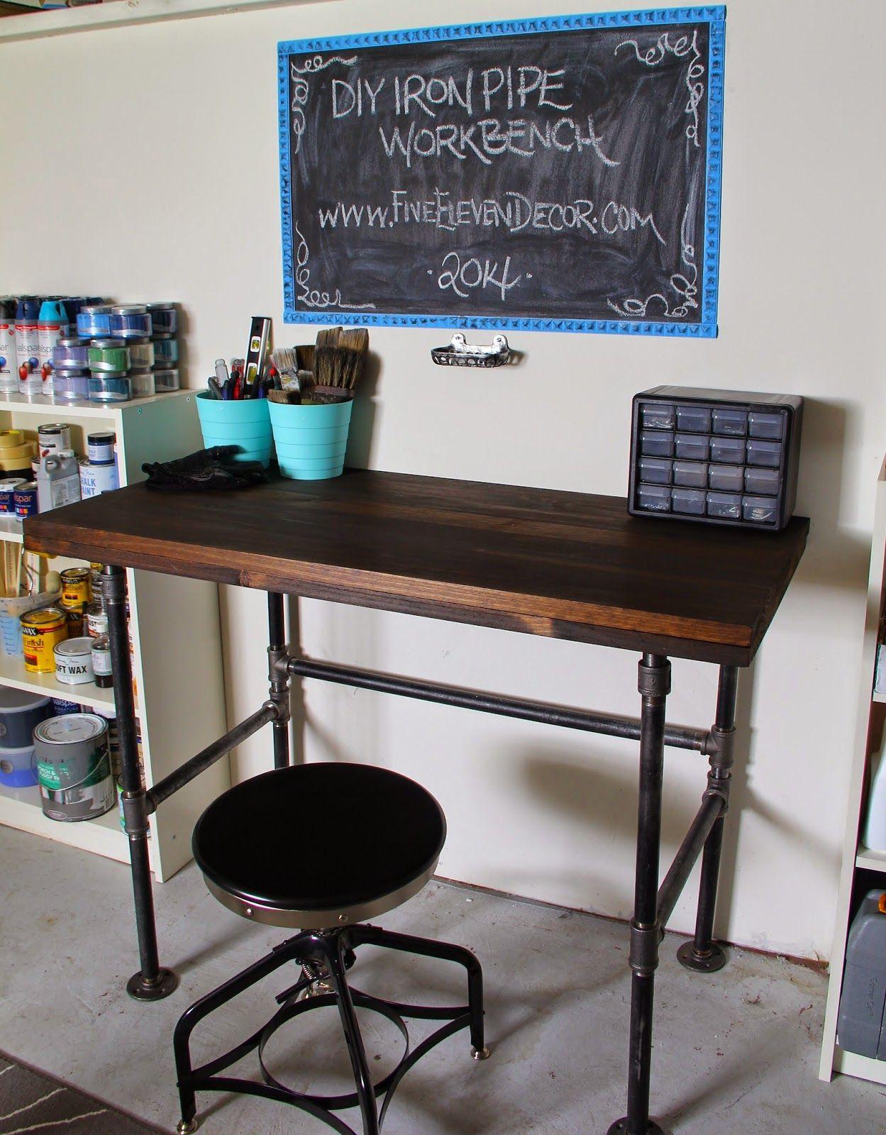 Fiveelevendecor diy black iron pipe workbench for Plumbing pipe desk plans