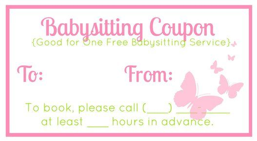 Free Downloadable Babysitting Coupon  Might Start Giving These