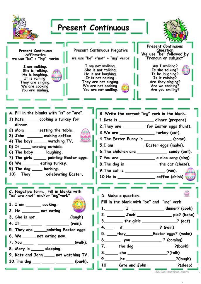 Present continuous Exercícios de inglês, Aulas de inglês