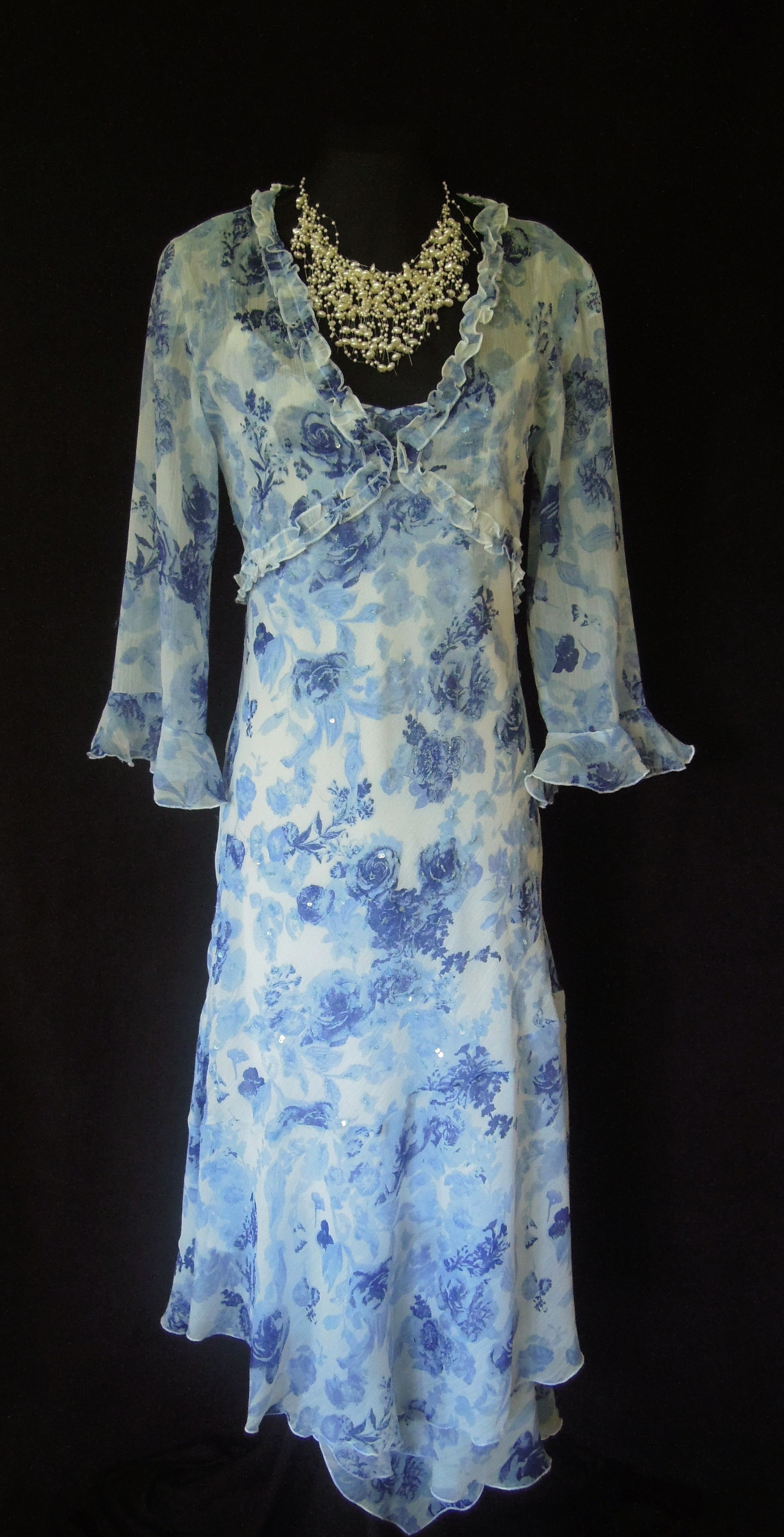 Pomodoro Blue & White Dress & Jacket Size 12. To see more photos ...