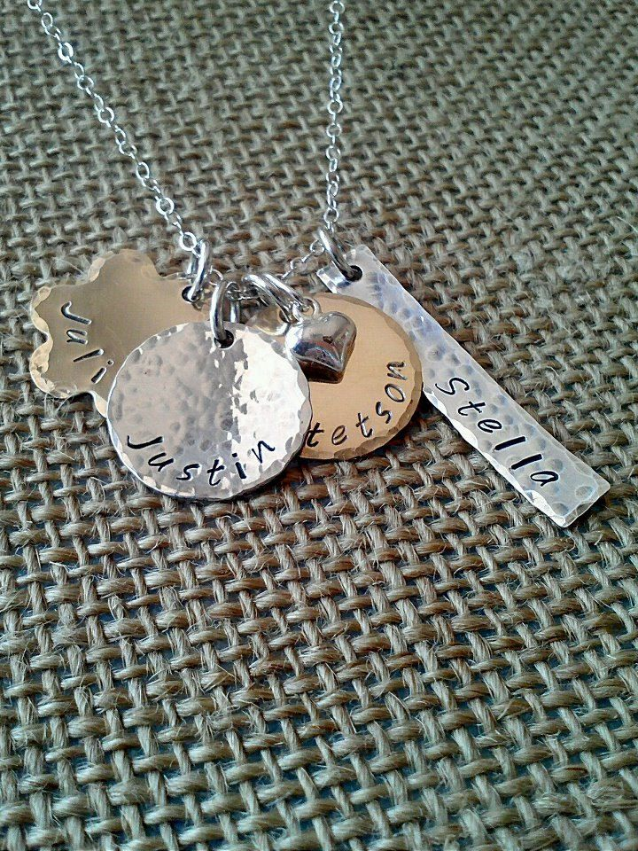 Custom Mom NecklaceMixed Metal Name by StampedEvermore on Etsy, $41.00