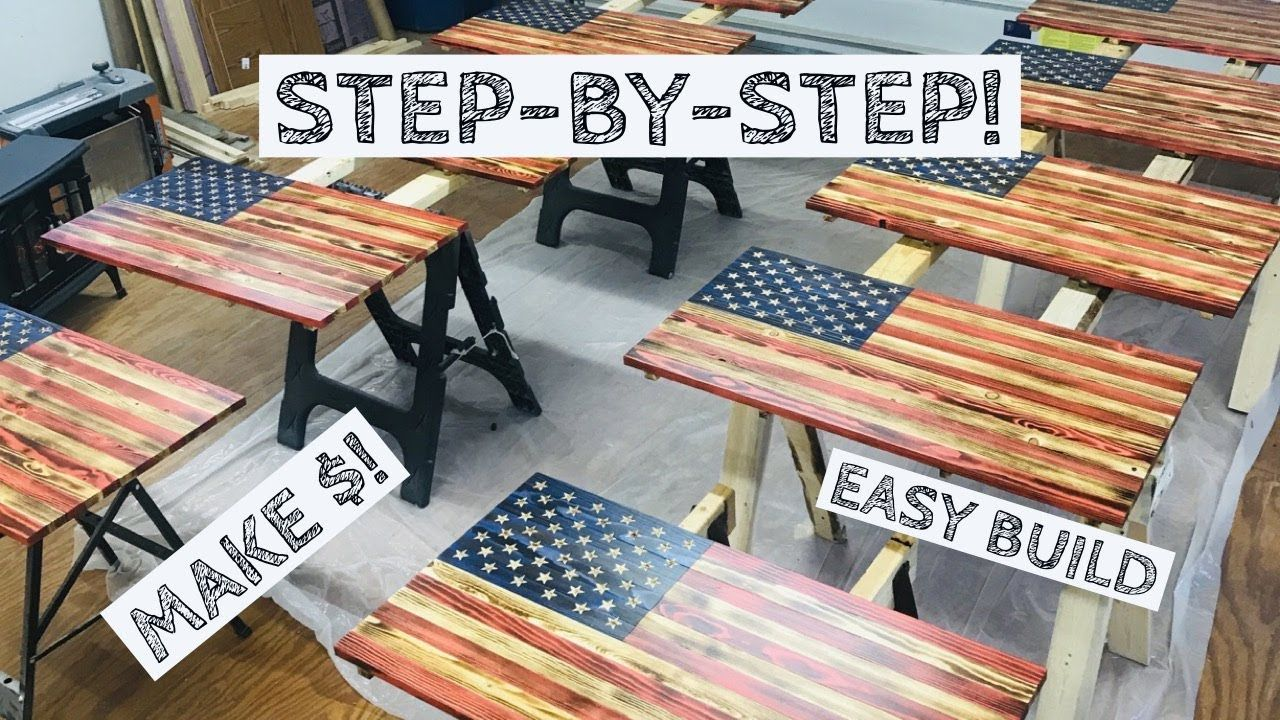 Most In-Depth Wood American Flag Build | Make Money Woodworking! | How to - YouTube