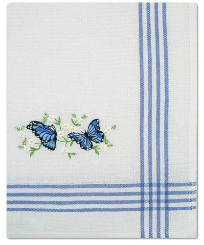 Butterfly Tea Towels Set Of 2 White With Blue Striped Border And  Embroidered Blue 19 X