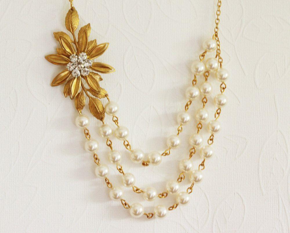 Gold Leaf Rhinestone Necklace   Weddings   Pinterest   Rhinestone ...