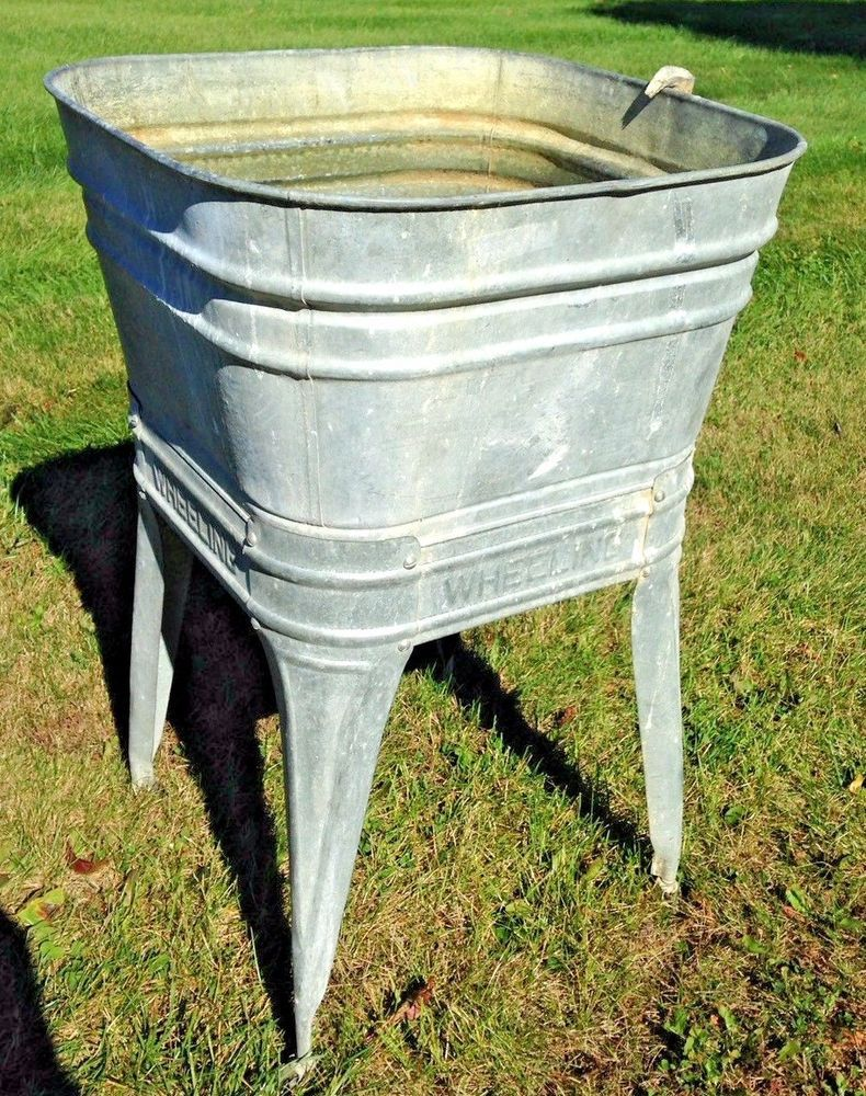 Vintage Wheeling Galvanized Wash Tub And Stand Single With Hose And Drain Americana Wheeling Galvanized Wash Tub Wash Tubs Galvanized