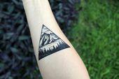 Triangle Mountain & Pine Forest scene, tattoo, black line, nature tattoo, # …, … Triangle Mountain & Pine Forest scene, tattoo …