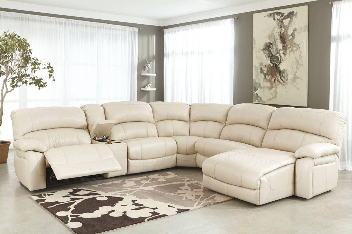 Damacio Cream Leather Sectional W Raf Chaise Sectional