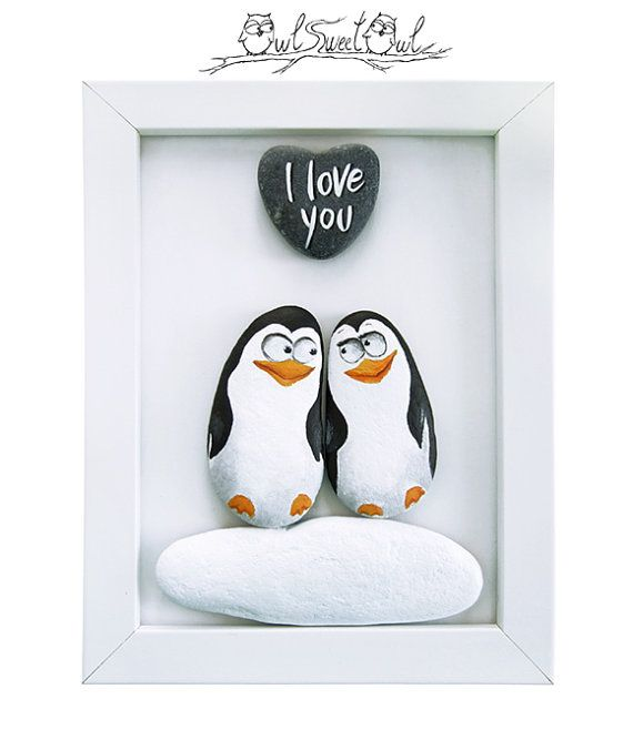 Unique Handmade 3-D Painting with Penguins in Love! | An Original Artwork Made with Painted Pebbles and a Marble Heart #bemaltekieselsteine