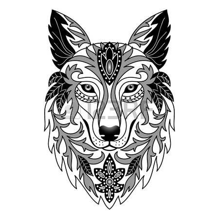 tatouage loup ornementale vector illustration d. Black Bedroom Furniture Sets. Home Design Ideas