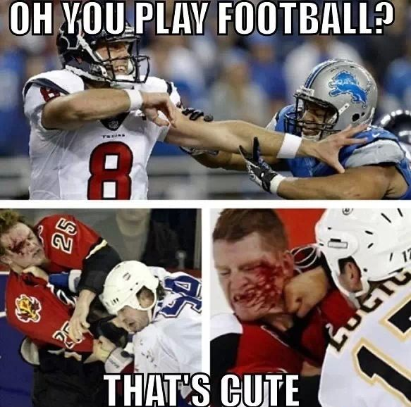 Hockey Vs Football Funny Hockey Memes Hockey Quotes Hockey