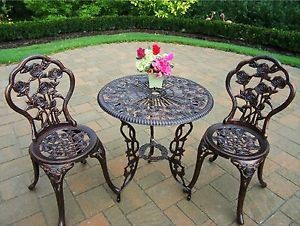 3 Piece Bistro Set Iron Patio Outdoor Garden Furniture Rose Design
