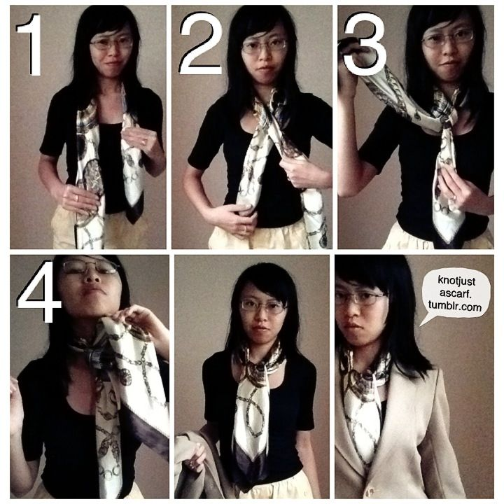 Tie an Ascot: 1) Place scarf around neck w/ one long & one ...