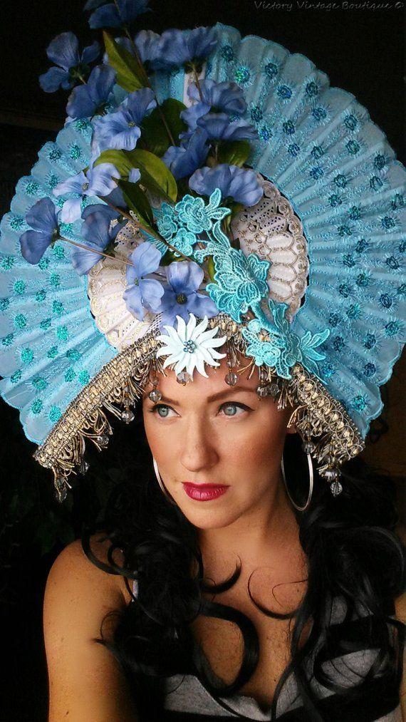 Huge Blue Fan fascinator Ornate 5c888361c56