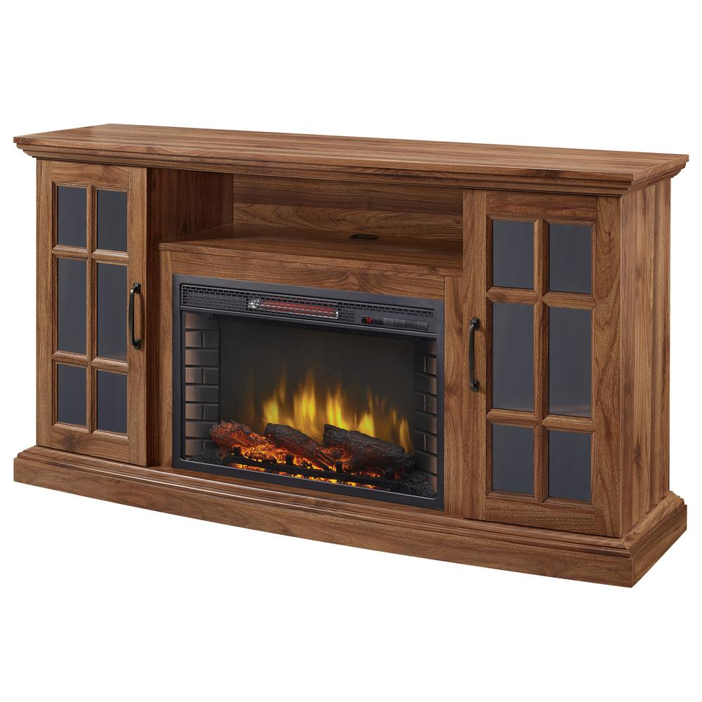 Home Decorators Collection Edenfield 59 In Freestanding Infrared Electric Fireplace Tv Stand In Burnished Walnut 365 302 121 Y The Home Depot Electric Fireplace Tv Stand Fireplace Tv Stand Home Decorators Collection