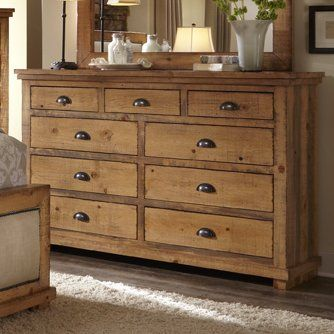 Bardugo Traditional Solid Mahogany Wood 9 Drawer Dresser 9 Drawer Dresser Solid Wood Platform Bed Solid Wood Dresser