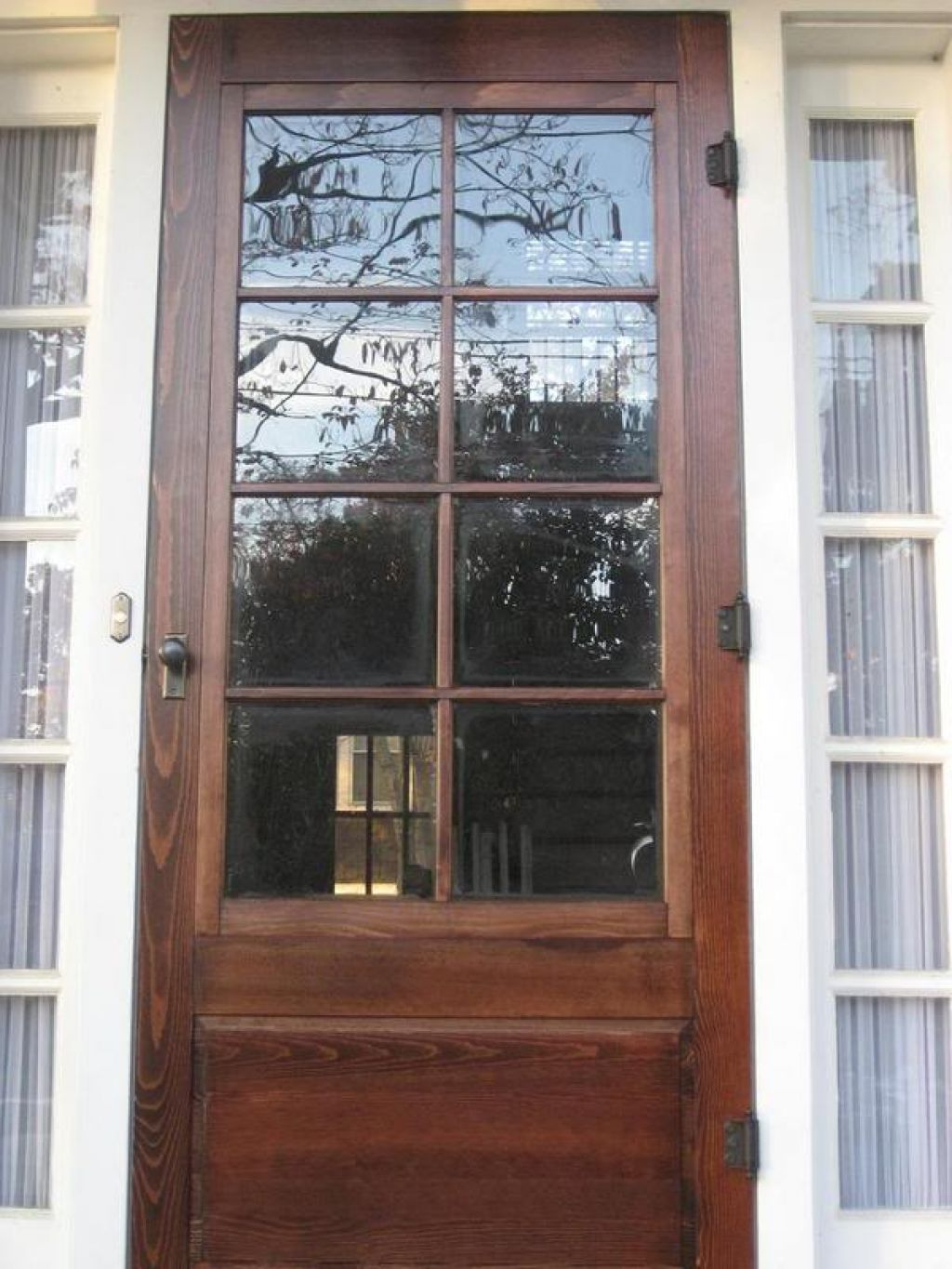 Vintage Styled Wood Storm Door With Solid Teak Wood Material Built In And  Using Clear Glass For The Door Panels - Vintage Styled Wood Storm Door With Solid Teak Wood Material Built