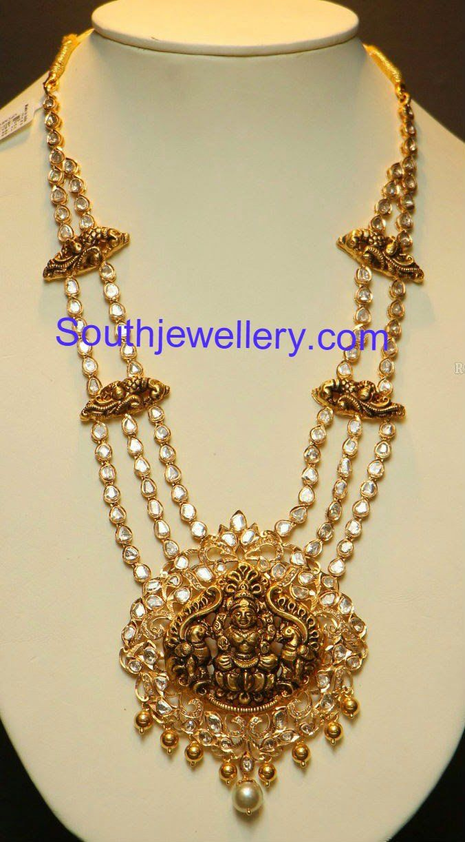 Elegant polki haram with lakshmi pendant pendants pinterest