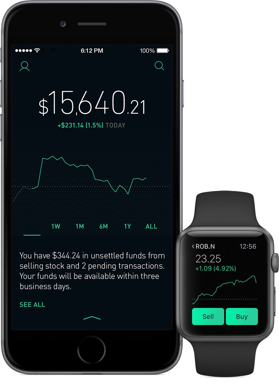 robinhood app on iphone and apple watch shows stock price trend