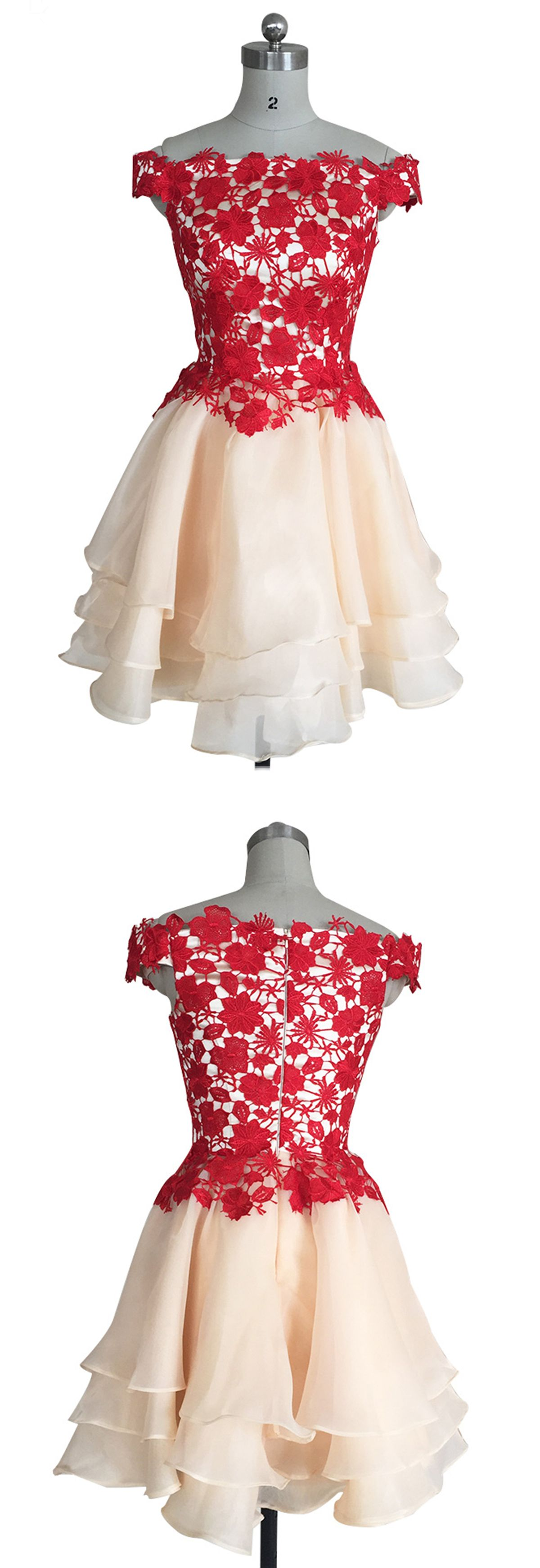 Cute red top champage tulle off shoulder dress bridesmaid dresses