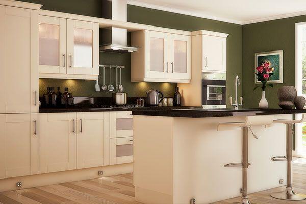 Cream Cupboards Olive Green Paint Backsplash Black