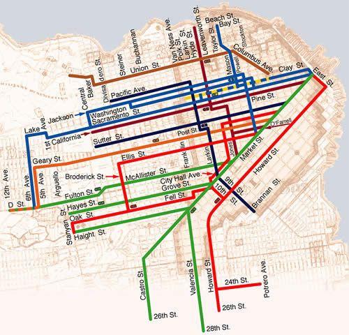 San Francisco Cable Car Map San Francisco Cable Car Lines At The