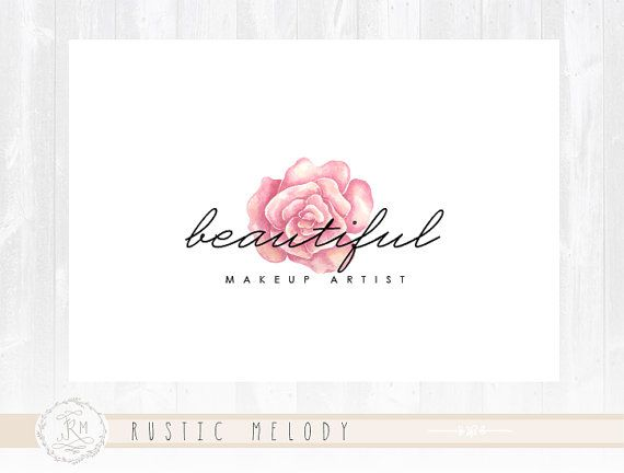 Floral Logo Design Photography Rose Makeup Artist Watercolor Boutique Shabby Chic