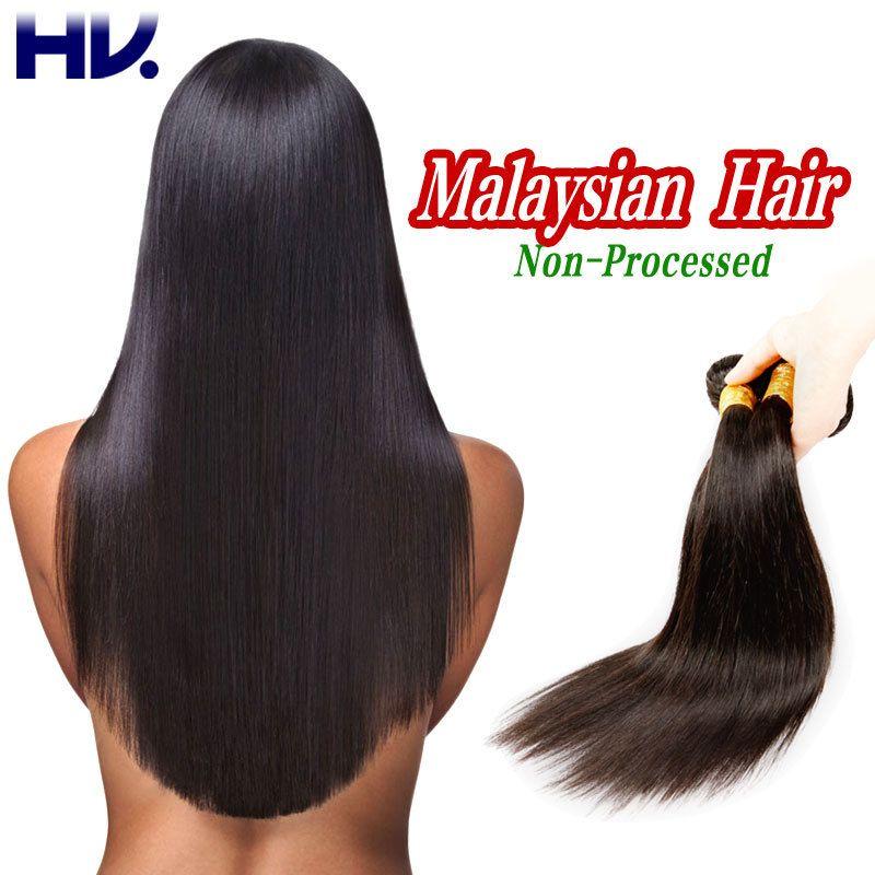 Feixes de Cabelo Virgem malaio Malaio Cabelo Liso Cabelo Humano Weave Inigualável Grau 8A Cabelo Virgem Não Processado 4 Pacotes Ofertas