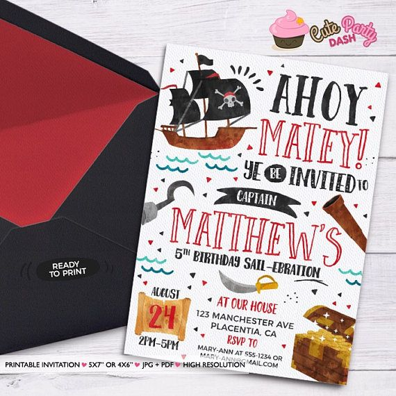 Pirate Birthday Invitation Diy Pirate Party Invitation Ahoy Matey Printable Invitation Pirate Invitation En 2020 Anniversaire Pirate Chasse Au Tresor Cartes