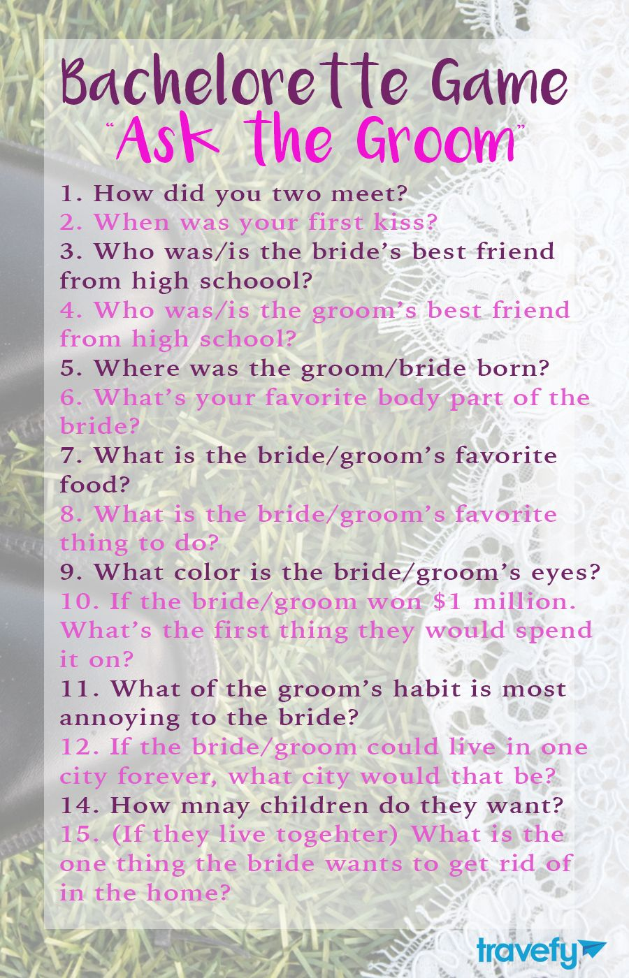 Bridal Shower Games Ask The Groom Questions