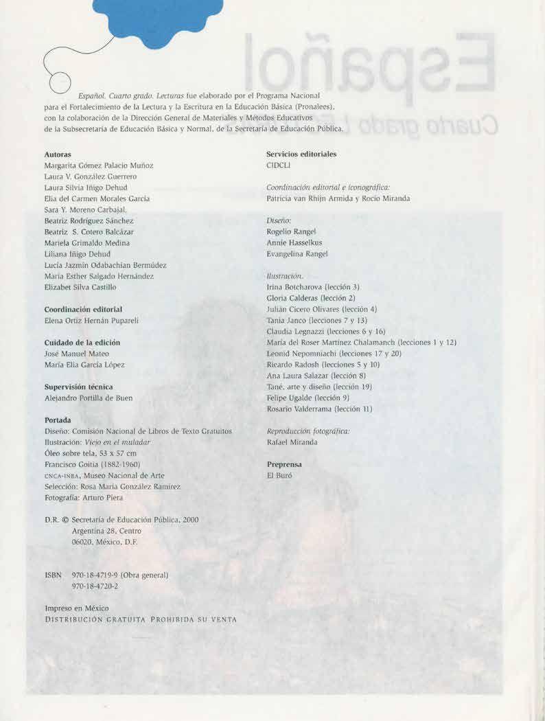 Español Lecturas Grado 4 Generación 1993 Comisión Nacional De Libros De Texto Gratuitos Libro De Texto Grado Lectura