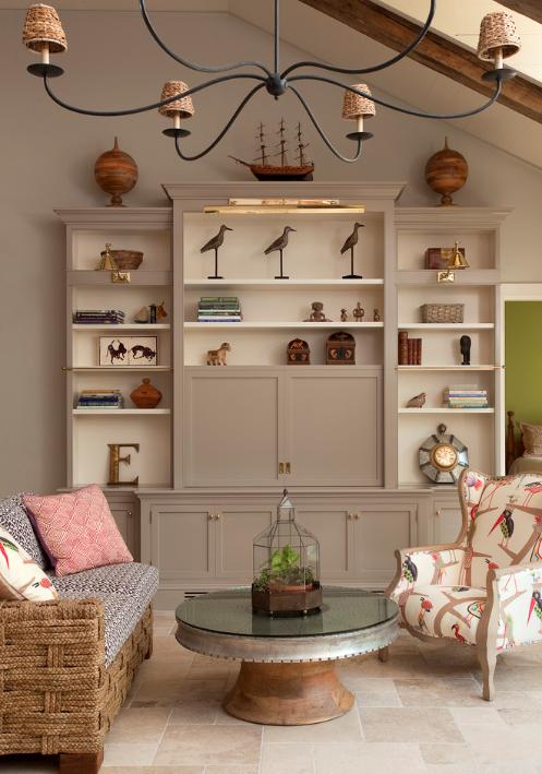 love the bird fabric   Mediterranean living rooms, Living ...