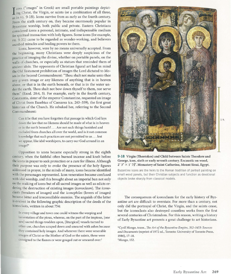 Medieval and Gothic / Iconoclasm in Byzantium. Define the idea of Iconoclasm within the Byzantine period. What is the image depicting?  Kleiner, Gardner. (2012). Art Through the Ages, 14th ed., Volume II - Global History. Cengage Learning.