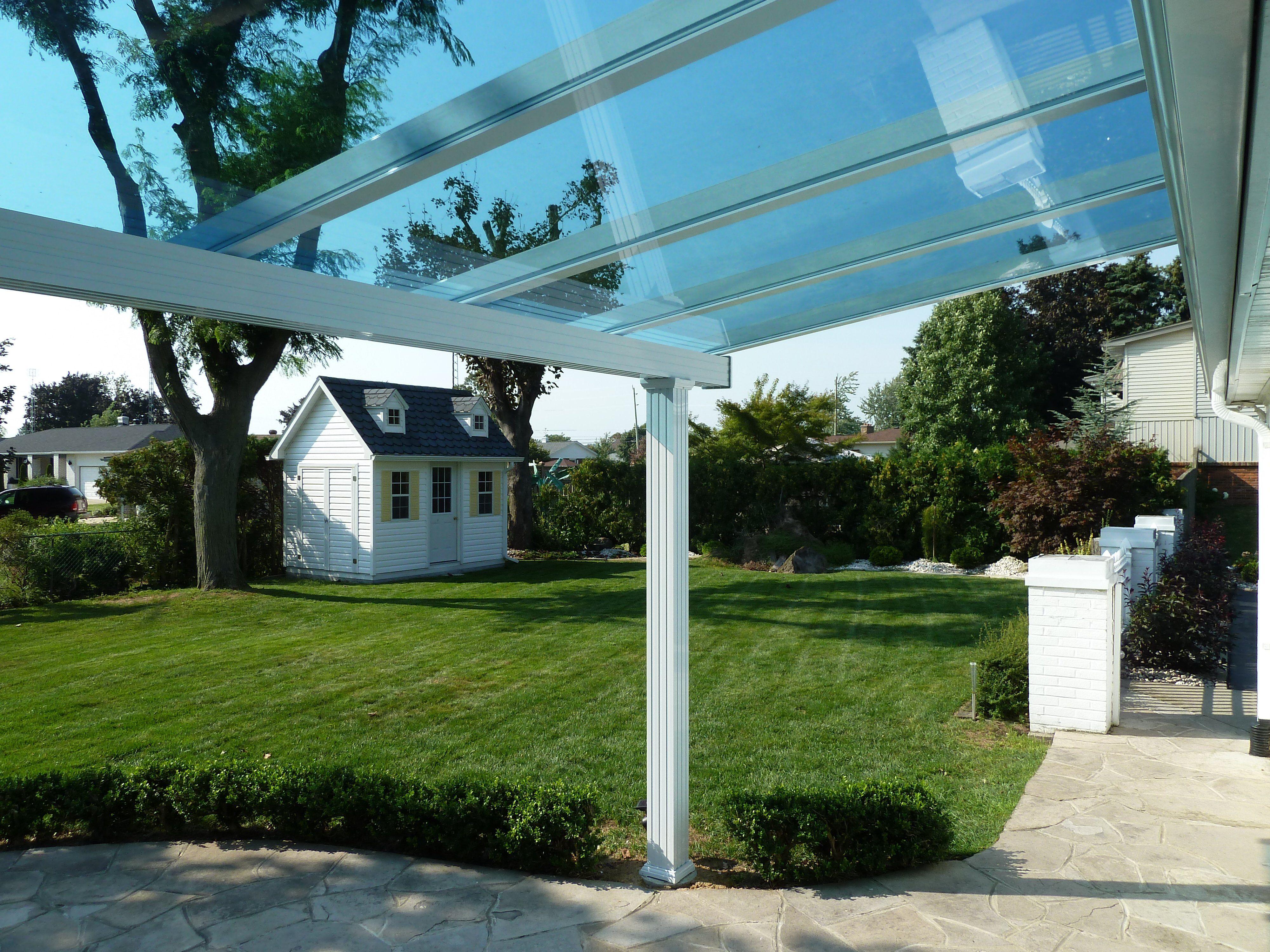 Patio Cover With Blue Tinted Glass Backyard Pergola Pergola Patio Pergola